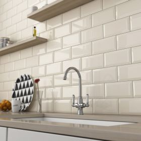 płytka ceramiczna glazura ścienna łazienkowa do kuchni metro beige 10x20 cm kuchnia łazienka
