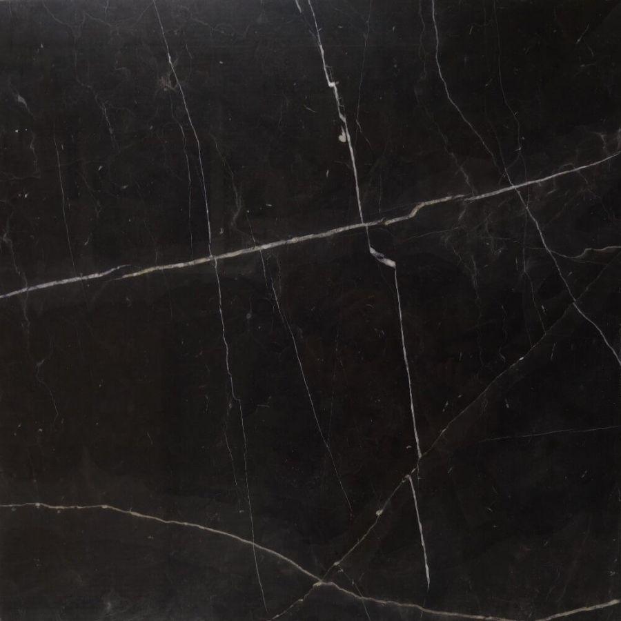 Płytki marmurowe kamienne naturalne podłogowe Nero Marquina polerowany 60x60x1,8 cm