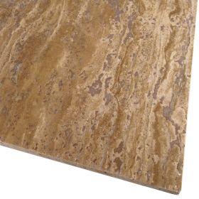 Płytki trawertyn kamienne naturalne podłogowe wypełniony szlifowany Walnut Dark 60x30x1,5