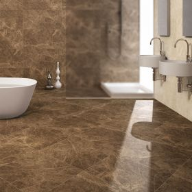 płytki marmurowe polerowane emperador brown łazienka