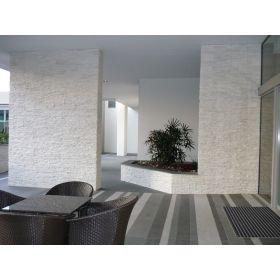 kamień naturalny kwarcyt panel ścienny biały bianco 10x36