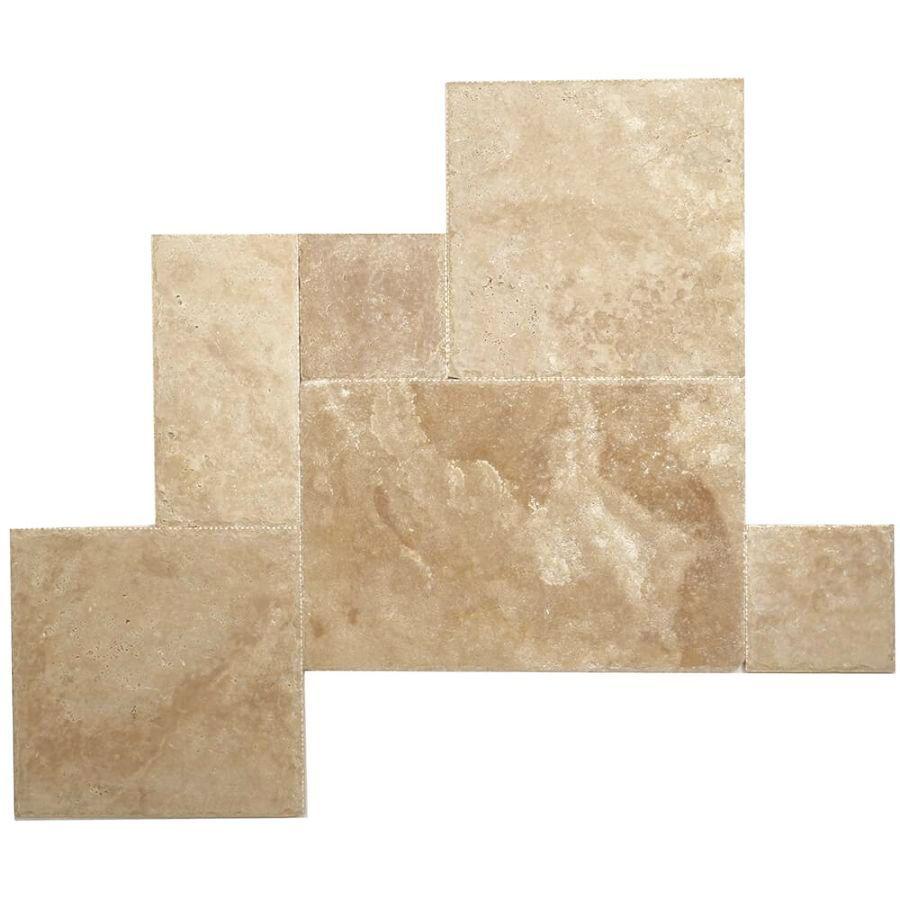 płytki kamienne trawertyn walnut dark podłoga układ rzymski młotkowane
