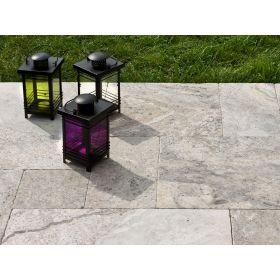 Płytki trawertyn kamienne naturalne podłogowe ozdobne trawertynowe bębnowane Silver podłogowe