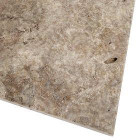 Płytki trawertyn kamienne naturalne podłogowe szczotkowany szary Silver 61x40,6x1,2 cm