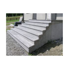 stopnice granitowe schody zewnętrzne szare płomieniowane antypoślizgowe