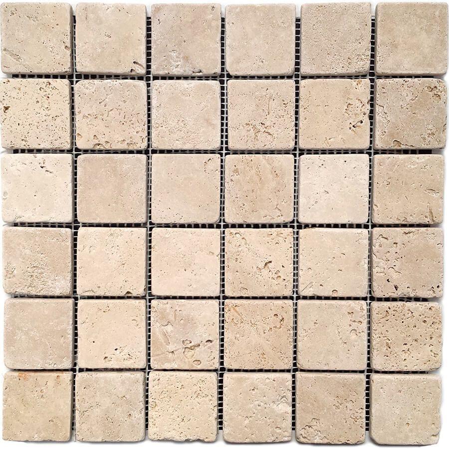 mozaika kamienna trawertynowa naturalna Classic 30,5 x 30,5 x 1 cm kostka 4,8 x 4,8 x 1 cm