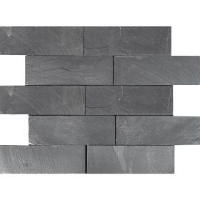 Kamień Elewacyjny Dekoracyjny Ścienny Ozdobny Naturalny Łupek Black Slate 30x10x1 cm
