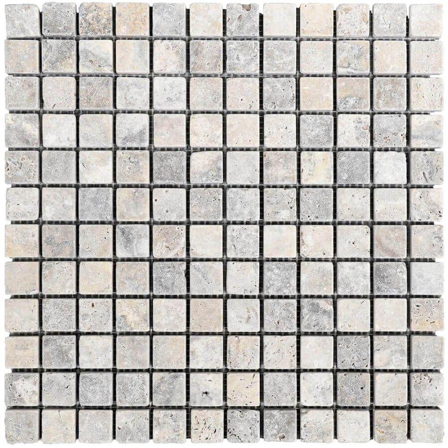 mozaika kamienna trawertynowa naturalnaSilver 30,5 x 30,5 x 1 cm kostka 2,3 x 2,3 x 1 cm