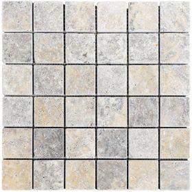 mozaika kamienna trawertynowa naturalna Silver 30,5 x 30,5 x 1 cm kostka 4,8 x 4,8 x 1 cm