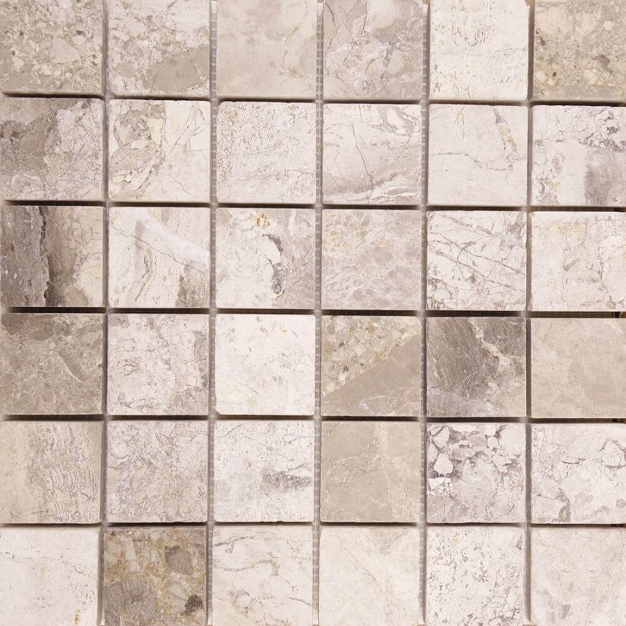 mozaika kamienna marmurowa naturalna Silver Shadow 30,5x30,5 4,8x4,8 szara