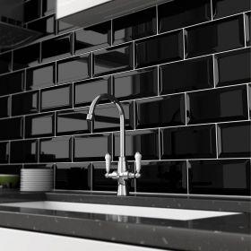 czarna płytka ceramiczna glazura ścienna łazienkowa do kuchni metro black 10x20 cm kuchnia łazienka