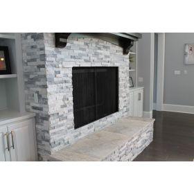 panel ścienny kamień dekoracyjny bianco grey naturalny biało szary kominek