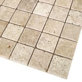 mozaika kamienna trawertynowa naturalna Classic / 30,5 x 30,5 x 1 cm / kostka 4,8 x 4,8 x 1 cm