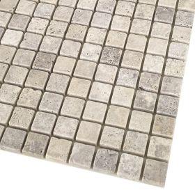 mozaika kamienna trawertynowa naturalnaSilver / 30,5 x 30,5 x 1 cm / kostka 2,3 x 2,3 x 1 cm