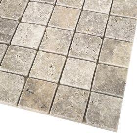 mozaika kamienna trawertynowa naturalna Silver / 30,5 x 30,5 x 1 cm / kostka 4,8 x 4,8 x 1 cm